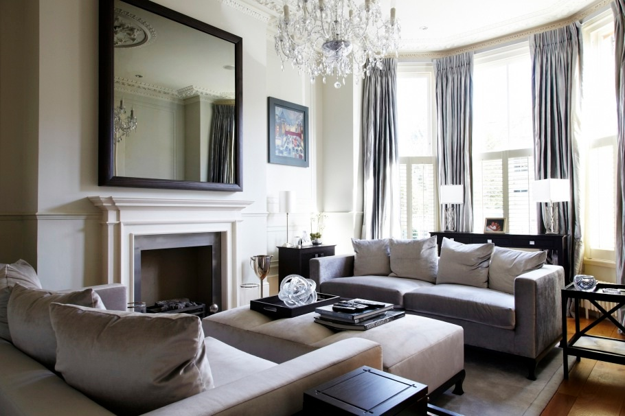 Top-7-Easy-Tips-for-Your-Home-Interior-Decorating-Modern-by-installing-Mirror-on-the-Wall-pendant-lights-carpet-or-rug-wall-art-sofa-wood-materials-and-masterpiece-with-luxury-glass-pendant-lights-decor