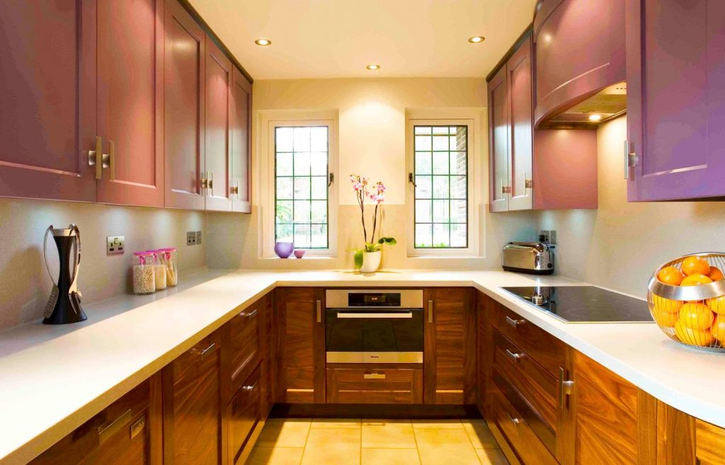 kitchen-designs-ideas-for-small-kitchen-layout-with-dark-wood-kitchen-cabinet-designs-and-white-countertops-ideas-built-in-modern-stove