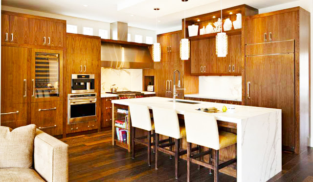 maple-espresso-kitchen-cabinets-with-white-island-made-form-maple-for-traditional-wooden-kitchen-cabinets-style-with-white-kitchen-island-design-above-glass-pendant-lights-kitchen-decor-ideas
