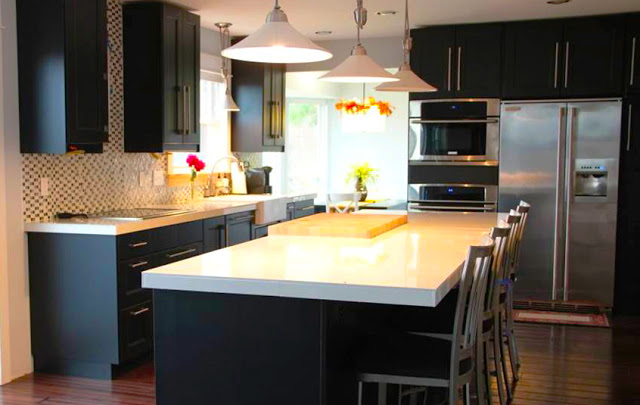 espresso-kitchen-cabinets-design-modern-custom-kitchen-cabinets-with-white-island-countertop-above-pendant-light