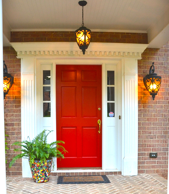 red-front-door-to-create-innovative-home-improvements-with-pendant-light-outdoor-decor-ideas