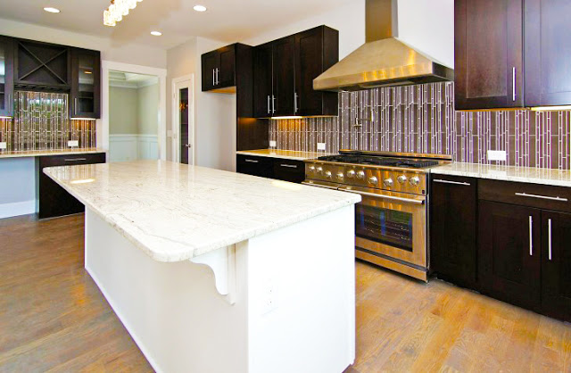 modern Semi Custom RTA Espresso Kitchen Cabinets with long White Island and Granite Floor Plus bestinsprational Picture and Gallery