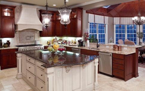 Luxury-RTA-Espresso-Kitchen-Cabinets-with-White-Island