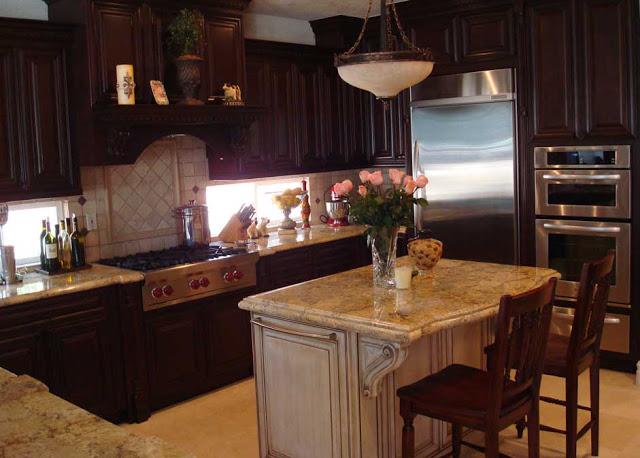 Luxury-RTA-Espresso-Kitchen-Cabinets-with-small-White-kitchen-Island-designs