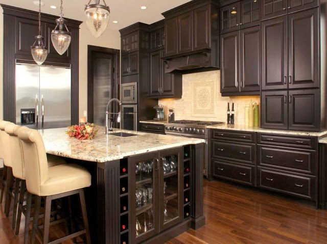 Luxury-RTA-Espresso-Kitchen-Cabinets-with-White-Island-and-sink-quartz-contertops-also-three-glass-pendant-light-decor-ideas