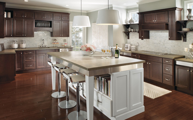 RTA Espresso Kitchen Cabinets with White Island