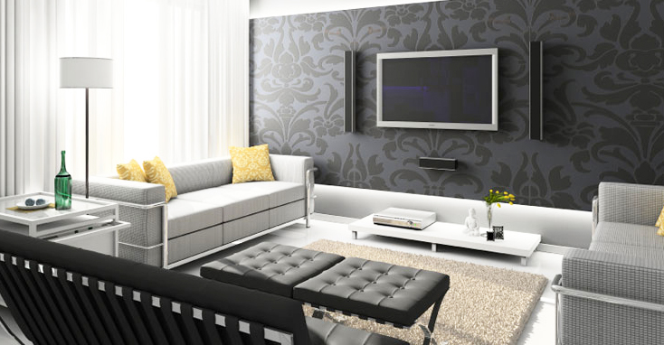 contemporary-style-sofa-in-living-room-contemporary-style-interior-design-with-awesome-black-pattern-wallpaper-and-tufted-black-chair-ottoman-designs-and-grey-modern-sofa