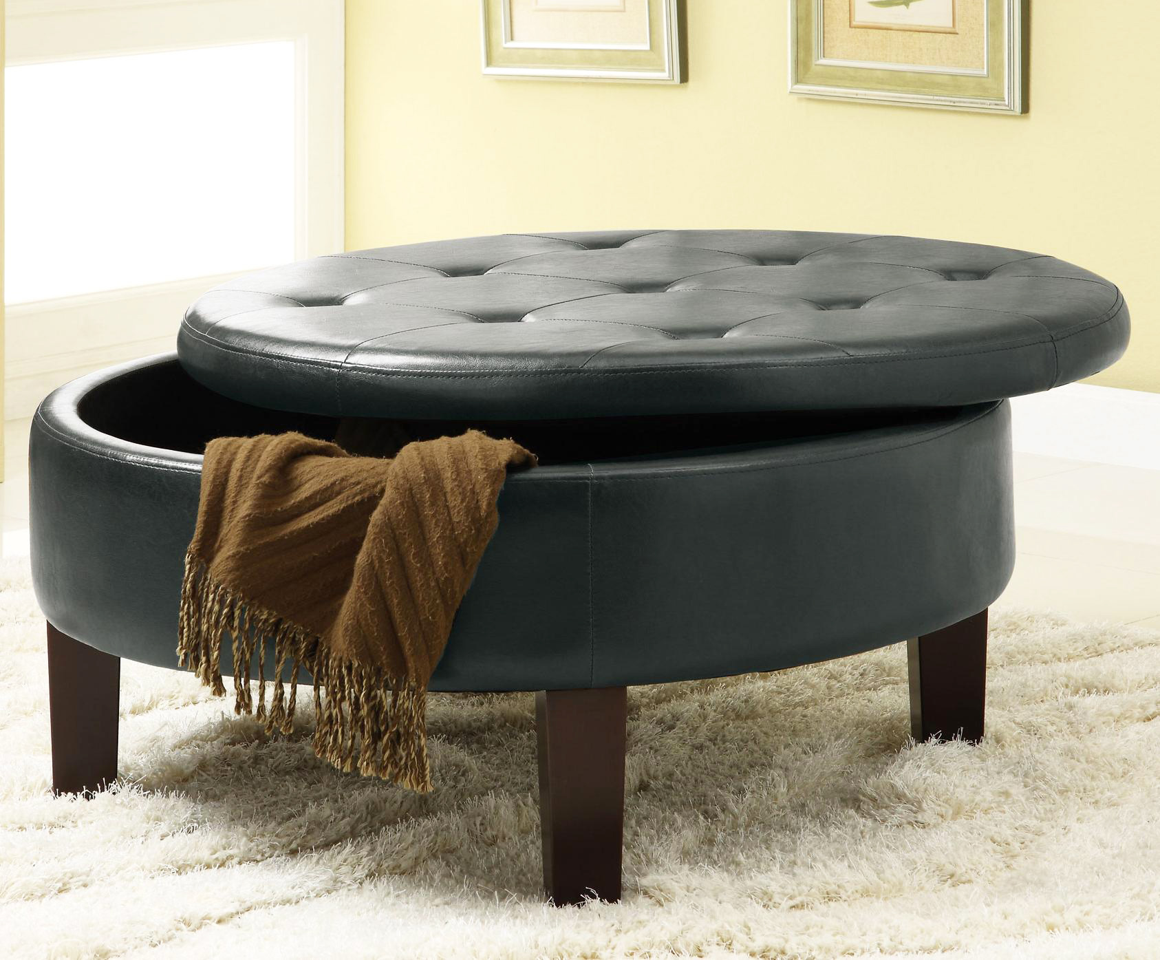 Tufted coffee table for elegance, creativity and luxury: black small round leather and fabric tufted coffee table ottoman for living room