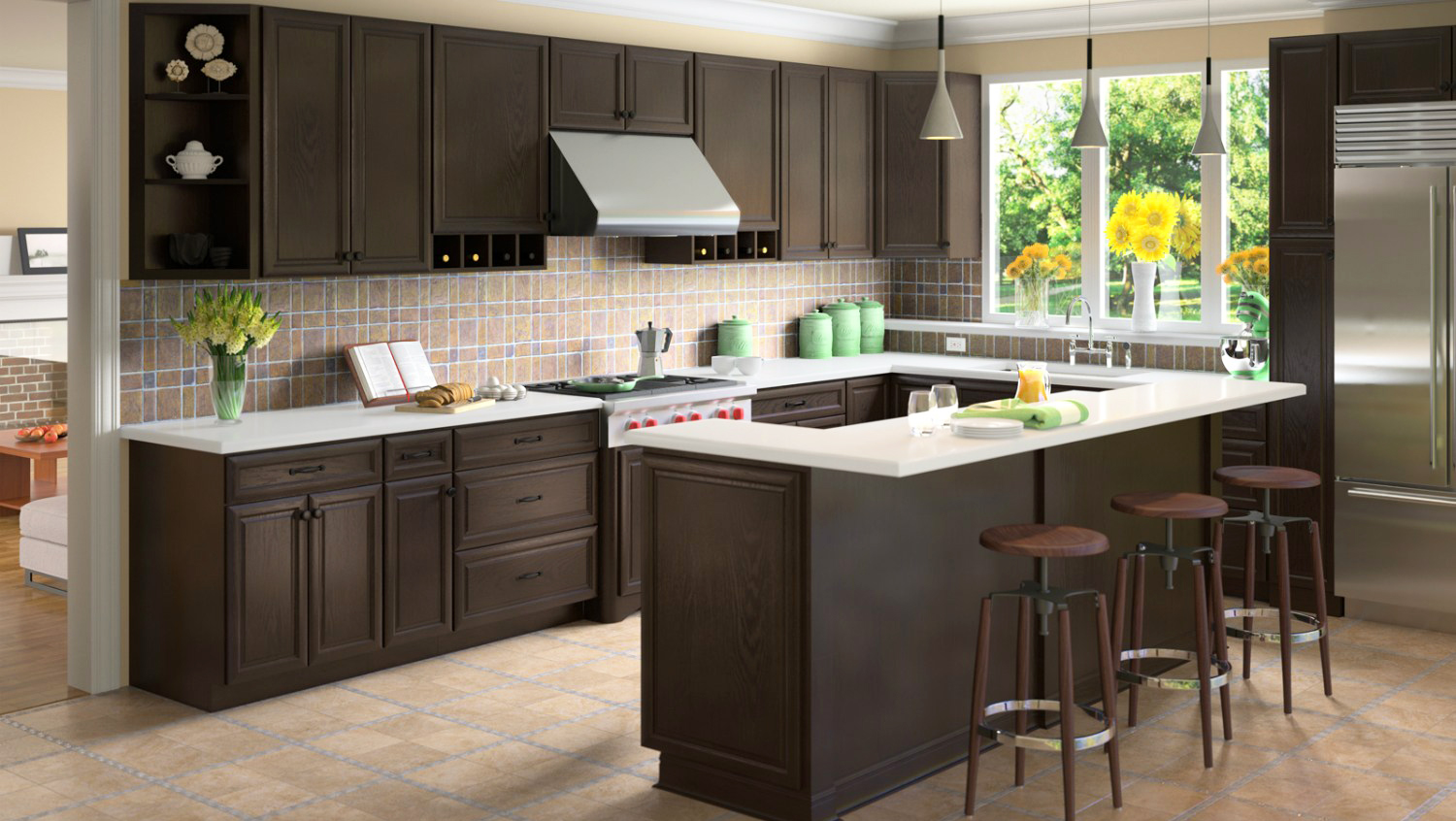 espresso colored kitchen cabinets be brave to apply espresso kitchen cabinets with granite 15188