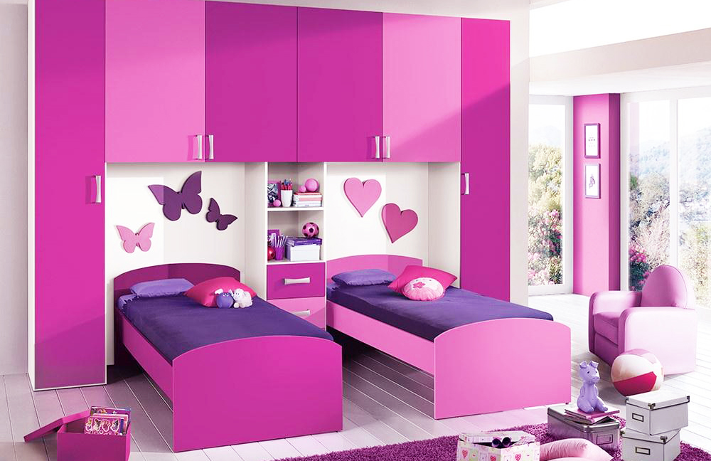 Girls Bedroom In Purple Color Palette With Big Windows In The Corner
