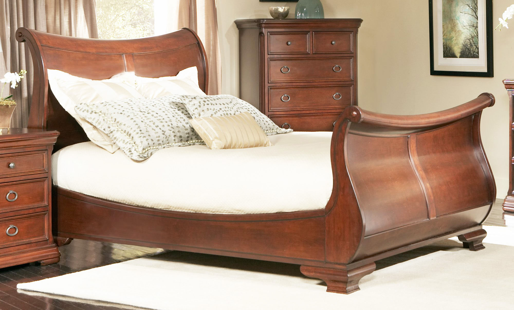 King Sleigh Bed With Drawers Underneath