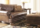 leather ottoman and leather armchair for living room chairs in leather furniture theme with brown color