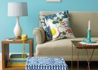 living room in blue color by color wheel design for interior paint colors and color theory