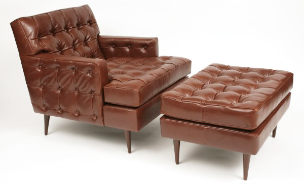 How to Decorate Living Room with Leather Chair Ottoman | Roy Home Design