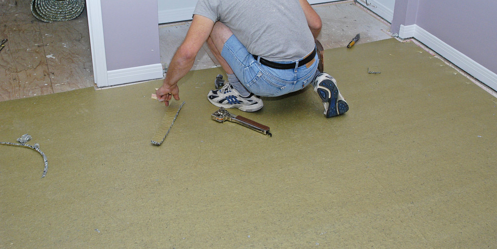 Underlay Installation For Soft Tile Flooring With Soft Foam Floor