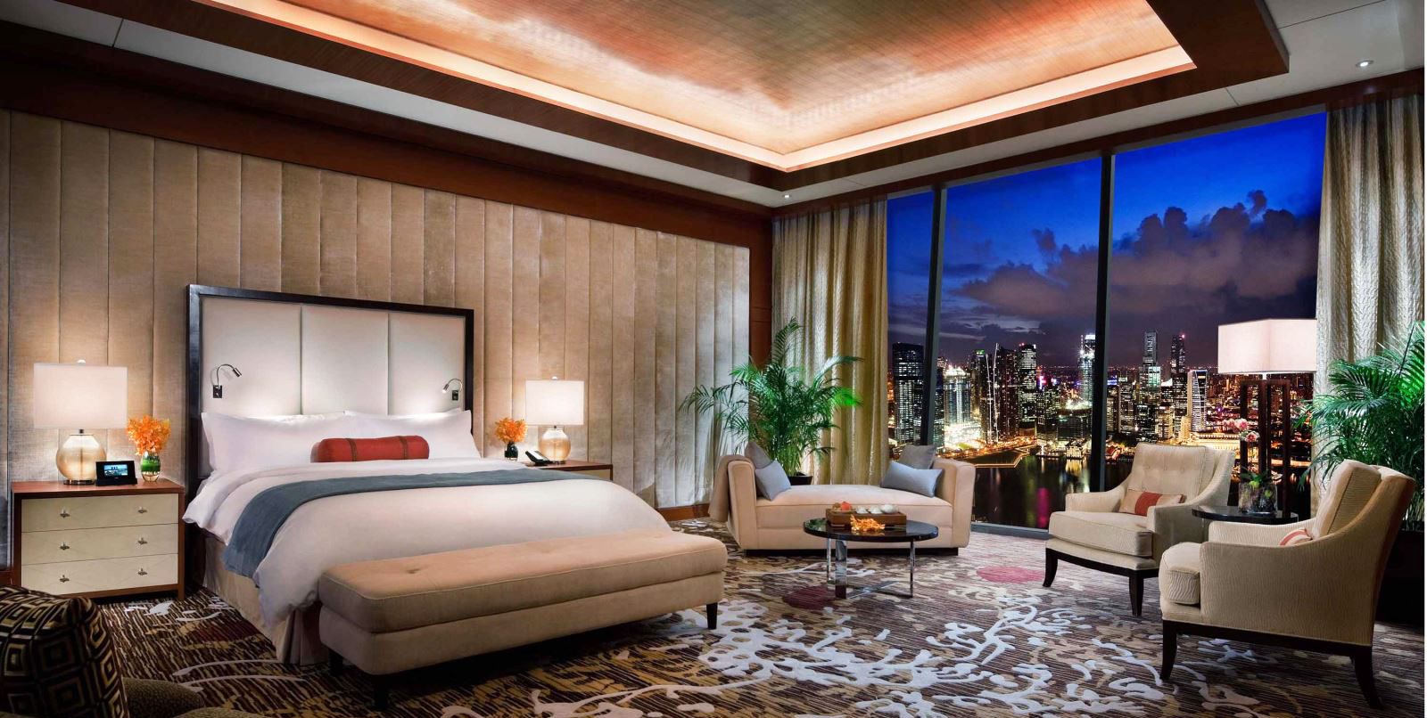 bedroom-ceiling-design-tray-ceiling-ideas-and-modern-panel-bed-design-also-floor-to-ceiling-window-and-luxurious