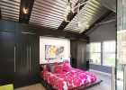 bedroom ceiling design with ceiling decoration ideas  from metal ceiling tiles black ceiling beams also black wardrobe and glass door entrance