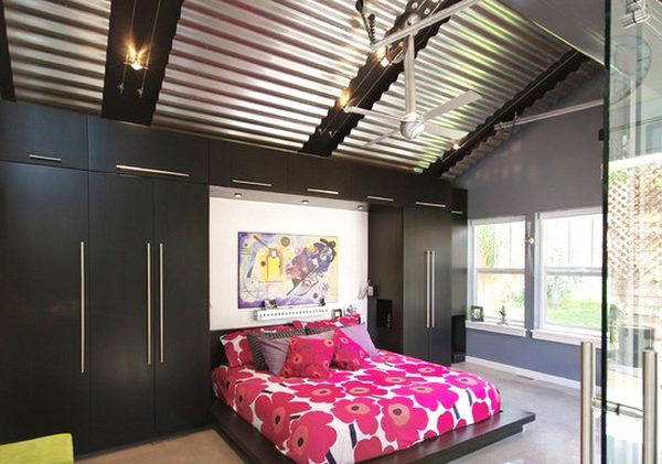 bedroom-ceiling-design-with-ceiling-decoration-ideas-from-metal-ceiling-tiles-black-ceiling-beams-also-black-wardrobe-and-glass-door-entrance