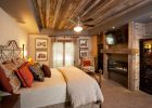 bedroom ceiling design with faux tray wood simple bedroom ceiling ideas with carpet flooring and bricks fireplace