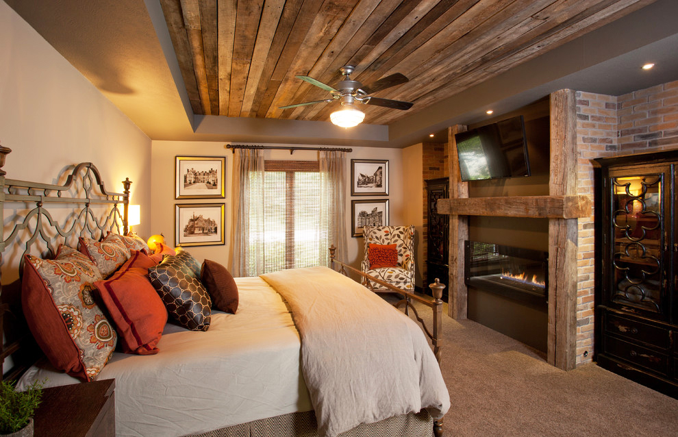 bedroom-ceiling-design-with-faux-tray-wood-simple-bedroom-ceiling-ideas-with-carpet-flooring-and-bricks-fireplace