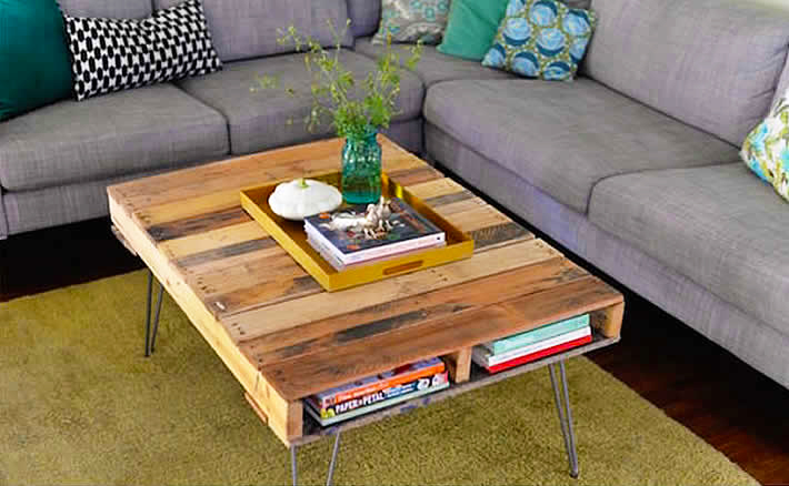 Pallet coffee table DIY – cheap and creative furniture with diy pallet design furniture for living room from wood pallet furnitures ideas