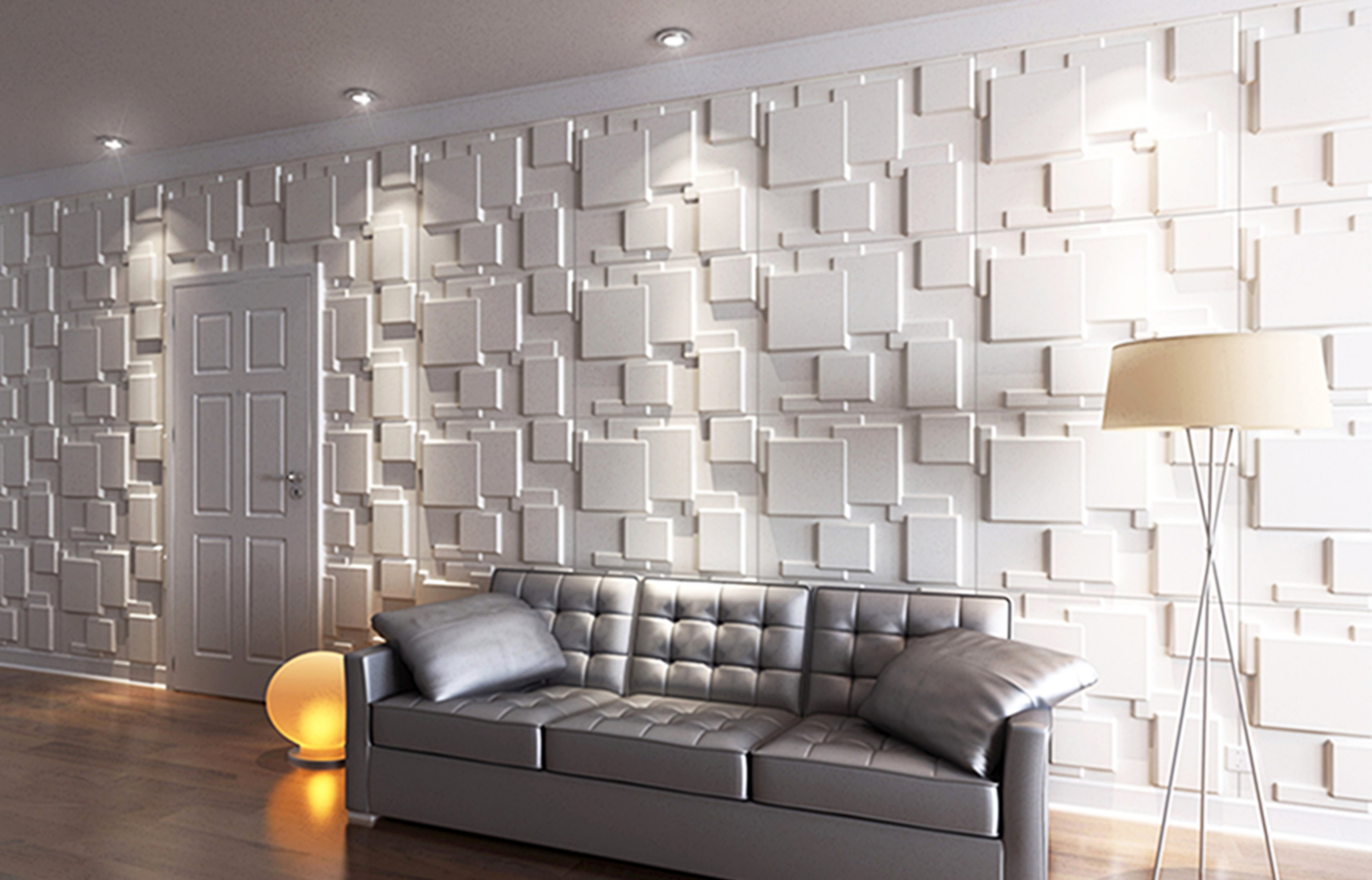 wall-covering-ideas-and-inspiration-interior-grey-vinyl-tufted-three-seat-modern-couch-and-white-painted-3d-wall-panels-in-living-room-decorative-covering-design-ideas