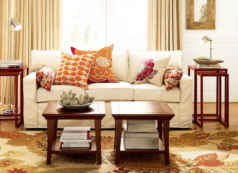 Beautiful-Living-Room-Furniture-Arrangement-with-living-room-furniture-decorating-ideas-with-wood-end-coffee-tables-sets-with-modern-white-sofa-and-flower-pattern-carpet-flooring