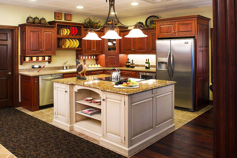 Best-Makeover-cheap-custom-kitchen-cabinets-for-kitchens-Ideas-white-wooden-kitchen-island-also-refinishing-kitchen-cabinet-varnished-lacquired-brown-metal-base-refrigerator