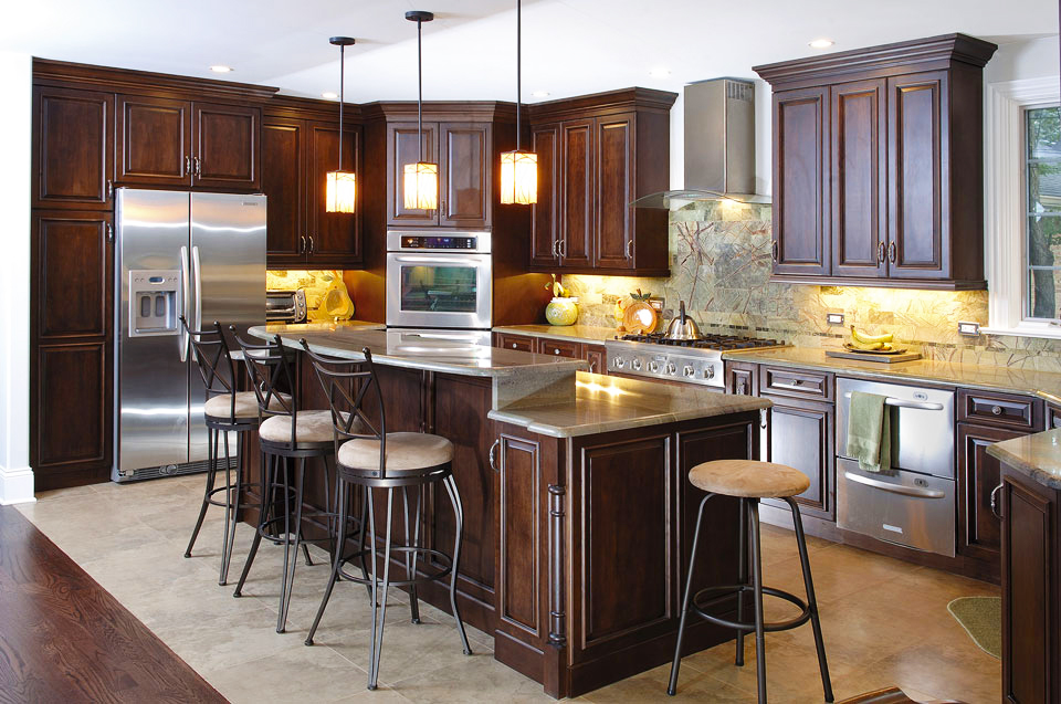 Custom-Kitchen-Cabinets-Clear-Alder-Wood-with-pendant-light-decor-ideas-with-affordable-cabinet-refacing-doors-for-wood-custom-cabinetry