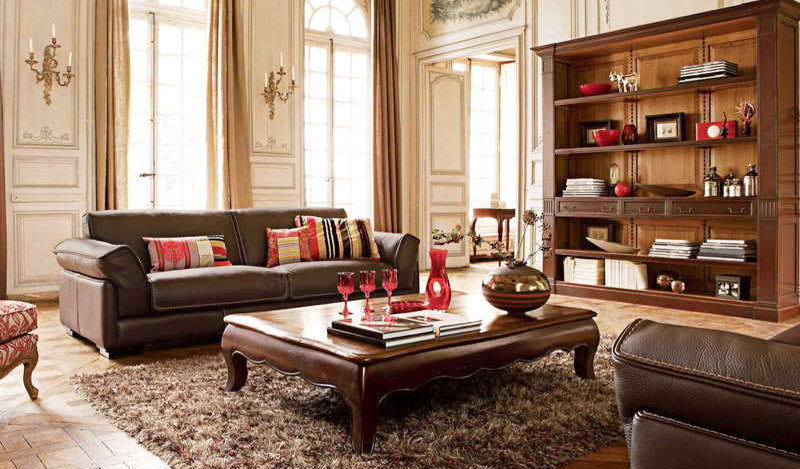 Wooden Living Room Furniture Arrangement With Large Square