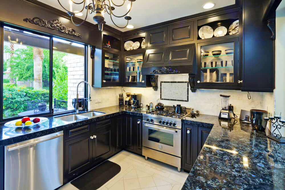 black-kitchen-cabinets-ideas-black-quartz-countertops-with-cheap-black-kitchen-cabinets-doors-refacing-ideas