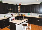 black kitchen cabinets ideas mix white kitchen island countertops with double sink design in black paint kitchen cabinets refacing
