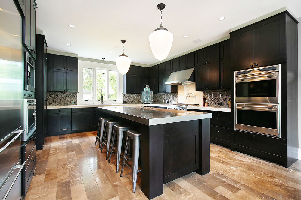 black-kitchen-cabinets-ideas-with-large-kitchen-island-with-granite-countertops-in-best-modern-diy-shaker-black-kitchen-cabinets