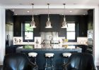 black kitchen cabinets ideas with quartz countertops kitchen island and modern pendants lamps for best modern shaker kitchen cabinets