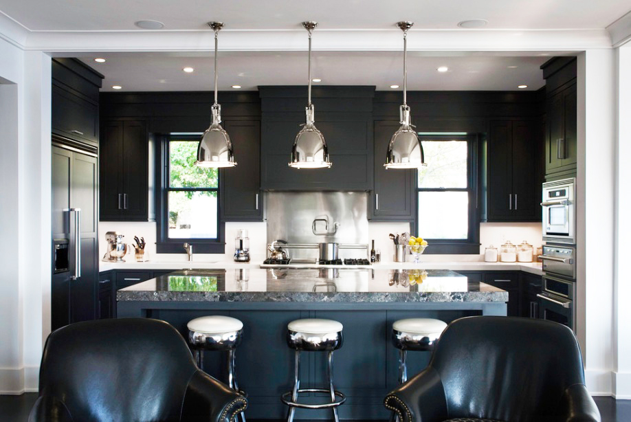 black-kitchen-cabinets-ideas-with-quartz-countertops-kitchen-island-and-modern-pendants-lamps-for-best-modern-shaker-kitchen-cabinets
