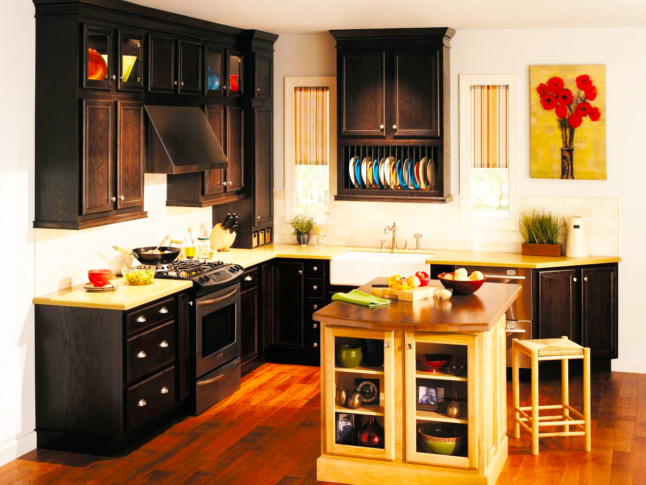 black-kitchen-cabinets-in-black-painting-kitchen-cabinets-refacing-with-granite-coutertops-also-wood-kitchen-island-ideas-and-single-sink-high-end-kitchen-cabinets