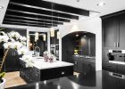 black kitchen cabinets with a quartz countertop for island in modern black kitchen cabinets design
