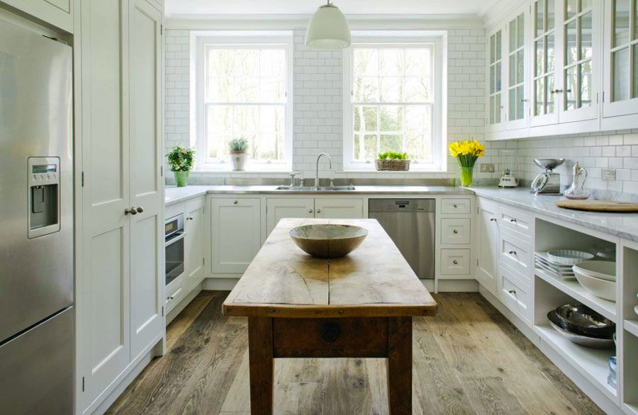 contemporary-kitchen-cabinets-with-u-shaped-kitchen-designs-with-wood-kitchen-table-also-white-painted-kitchen-cabinets