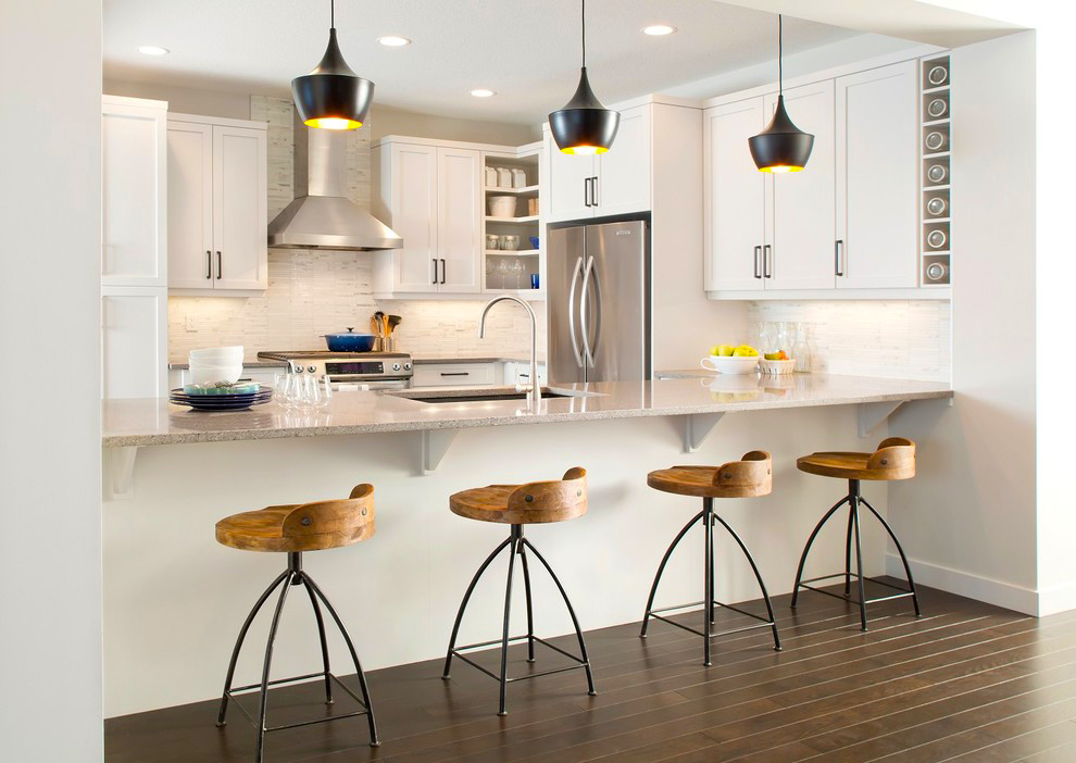 contemporary-kitchen-designs-ideas-for-modern-small-kitchen-designs-with-contemporary-white-kitchen-cabinet-designs-and-pendant-lights-ideas