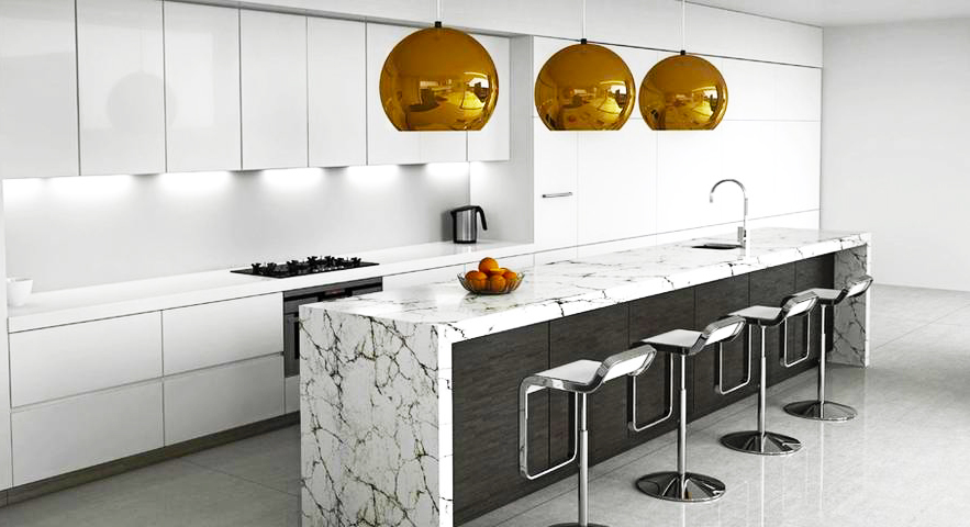 contemporary-kitchen-designs-ideas-in-white-kitchen-cabinet-designs-also-gold-painted-pendant-lights-on-the-quartz-kitchen-island