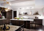 contemporary kitchen designs ideas with black modern kitchen cabinets designs and large rectangle kitchen island also white countertops designs