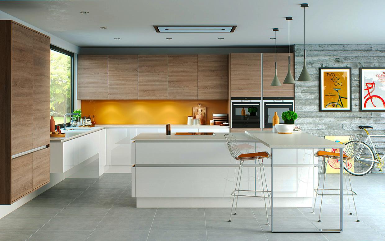 contemporary-kitchen-designs-ideas-with-wood-kitchen-cabinet-designs-also-pendant-light-decor-on-the-white-kitchen-island-mix-with-orange-kitchen-backsplash