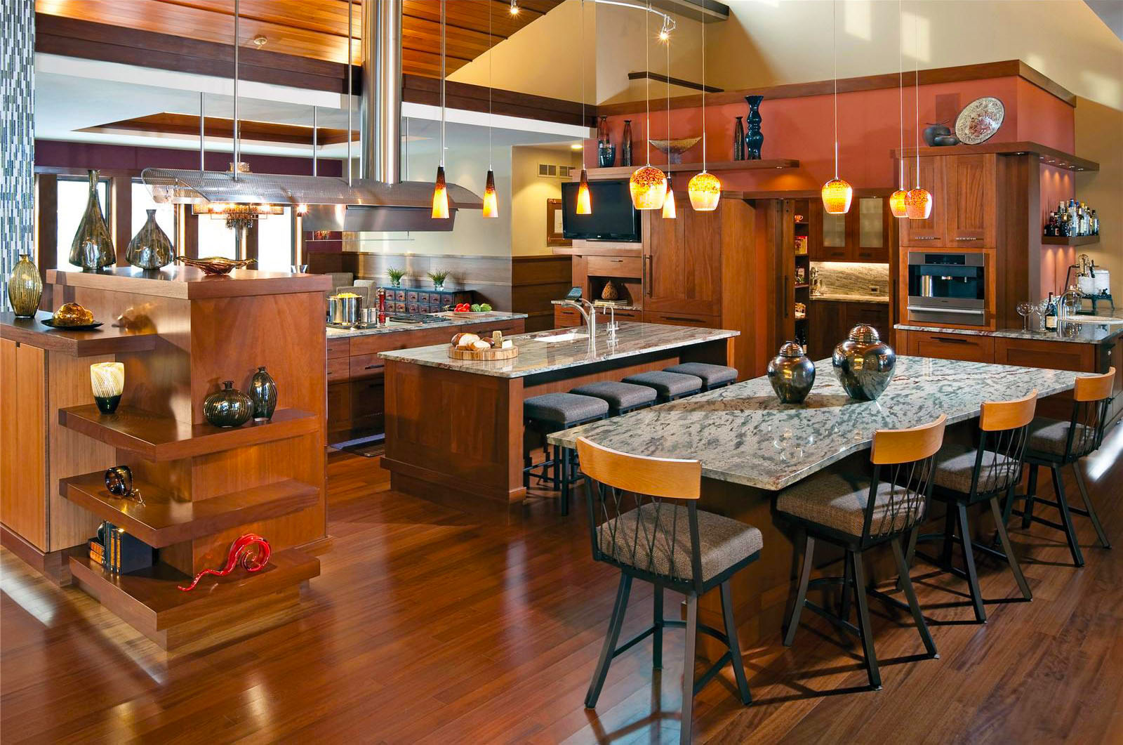 contemporary-kitchen-designs-with-classy-and-luxury-open-kitchen-design-with-all-wooden-funiture-decor-painted-brown-and-hardwood-flooring-kitchen-ideas-with-pendant-lights