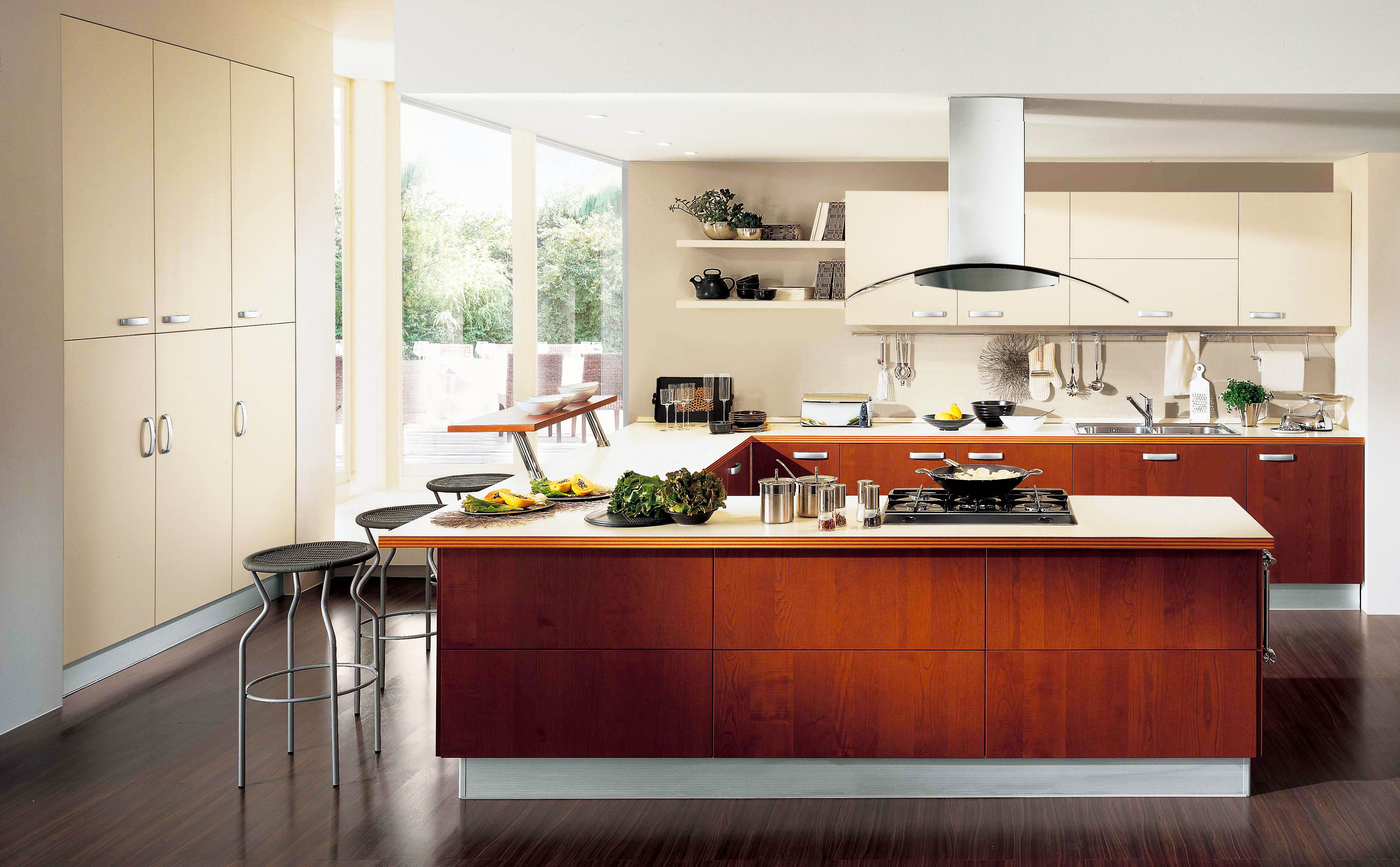 contemporary-kitchen-designs-withcool-contemporary-kitchen-cabinet-design-ideas-with-wooden-kitchen-island-also-window-and-U-shaped-kitchen-island-feats-high-tech-electric-stove-top