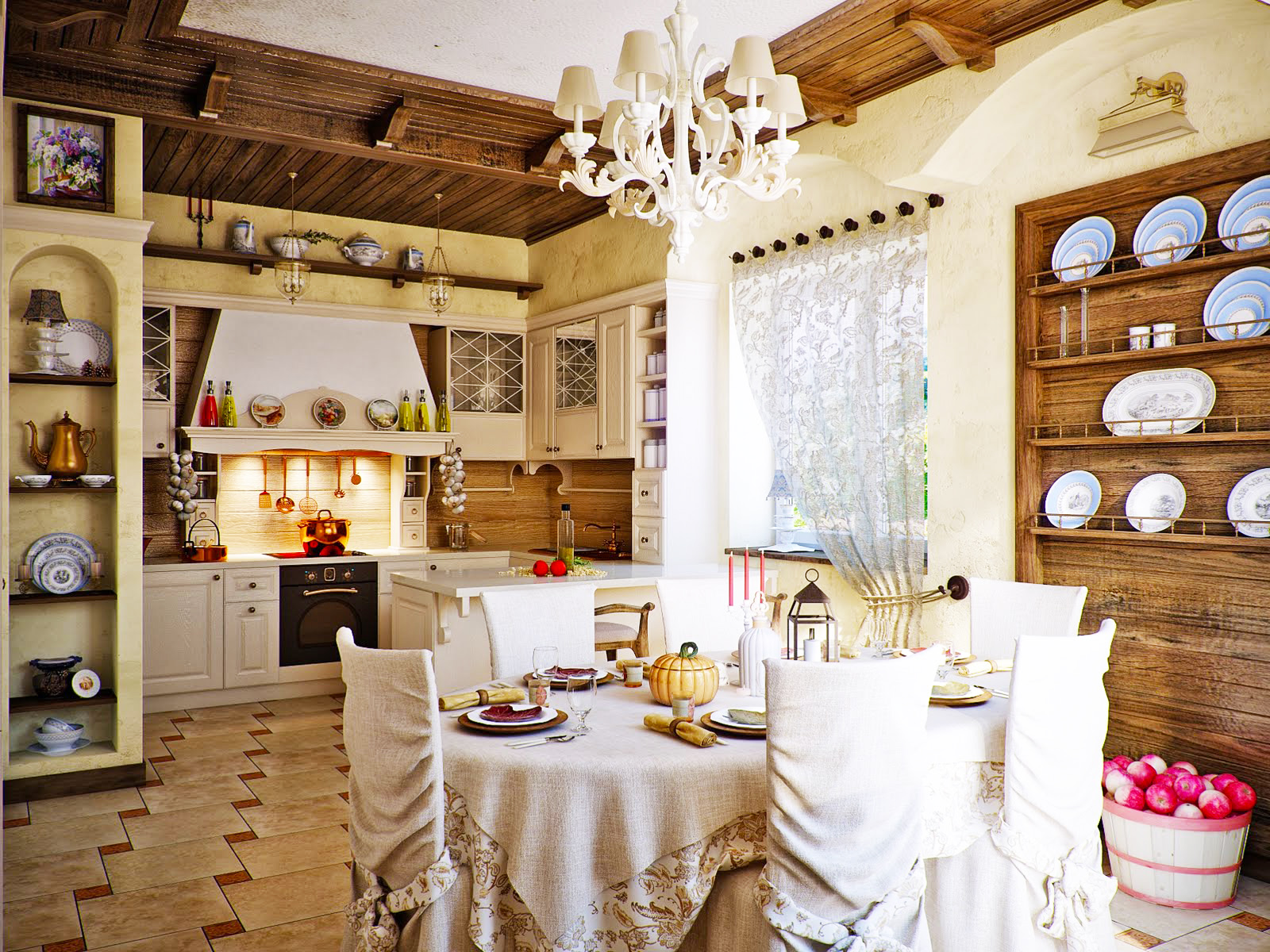 country-kitchen-design-for-small-kitchen-remodeling-ideas-with-white-oak-kitchen-cabinets-and-pendant-lights-decorations