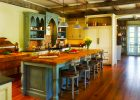 country kitchen designs for custom kitchen island ideas with pendant lights decor also long wooden dining table country kitchen designs and wood beam ceiling for traditional kitchen look