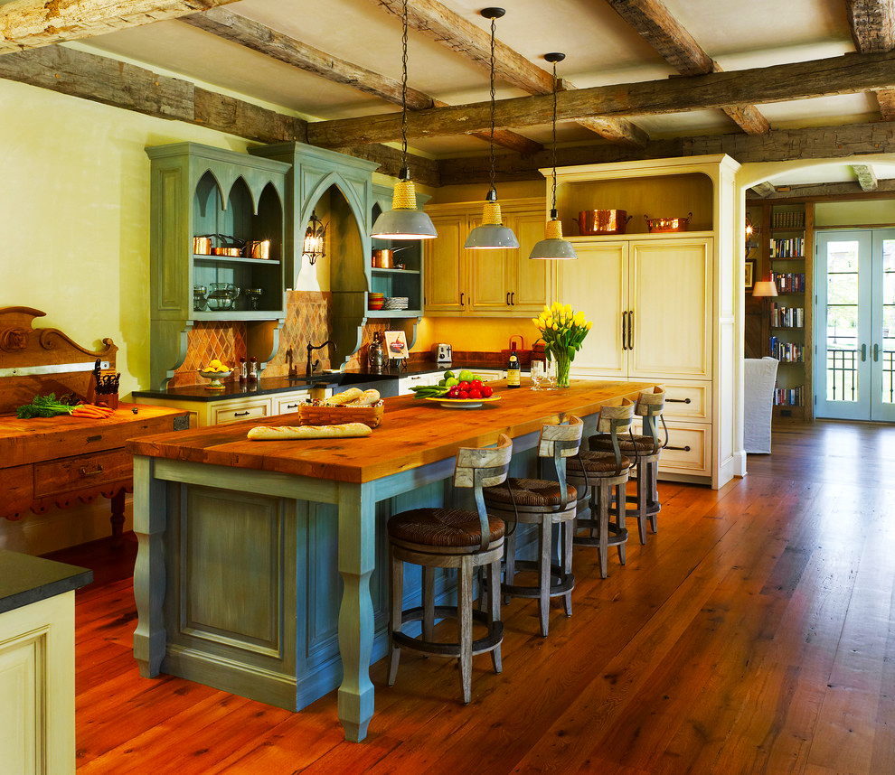 country-kitchen-designs-for-custom-kitchen-island-ideas-with-pendant-lights-decor-also-long-wooden-dining-table-country-kitchen-designs-and-wood-beam-ceiling-for-traditional-kitchen-look