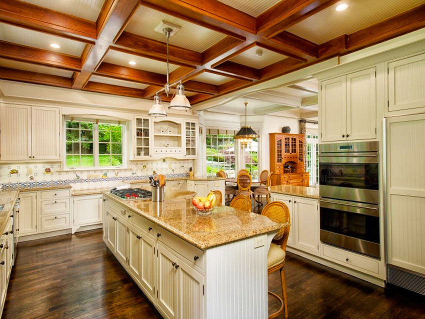 country-kitchen-designs-ideas-luxury-country-kitchen-with-almond-gold-granite-counters-and-wooden-beam-ceiling-ideas-for-country-kitchen-remodeling-ideas