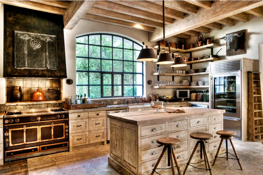 country-kitchen-designs-ideas-white-washed-rustic-wooden-kitchen-island-designs-above-the-pendant-lights-ideas-with-white-wooden-kitchen-cabinet-designs