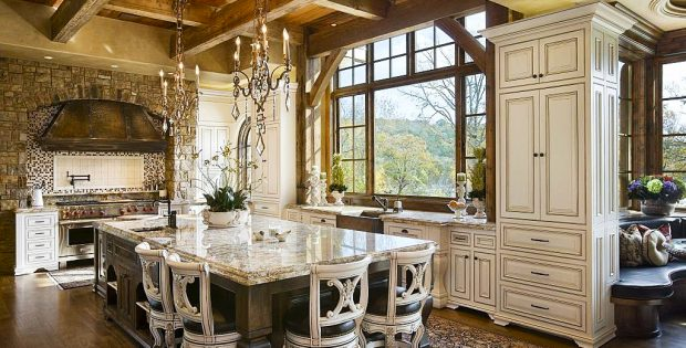 Country Kitchen Designs Ideas With Large Luxury Wooden Dining Table